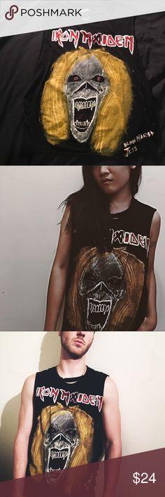 IRON MAIDEN Shirt (HAND PAINTED) (SLEEVELESS) Black Iron Maiden Cotton Band Tee Hand painted Iron Maiden Graphic (light weight fabric ink) Loose fit / Boyfriend Fit Size: Medium Open Back TUNC + JESXDAV Tops Tank Tops