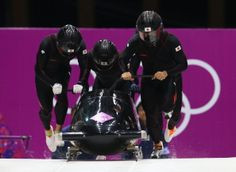 Pilot Hiroshi Suzuki, Toshiki Kuroiwa, Shintaro Sato and Hisashi Miyazaki of Japan team 1 make a run during the Men's Four Man Bobsleigh heats (c) Getty Images Bobsleigh, Winter Olympics, Miyazaki, Skating, Skeleton, The Man, Pilot, Darth Vader, Japan