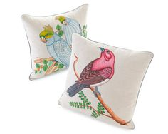 Trend Alert: Birds    Cockatoos and Finch pillow covers by John Robshaw Textiles; johnrobshaw.com.