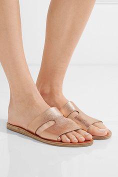 a83c5edd3d266a Ancient Greek Sandals - Apteros cutout metallic textured-leather slides