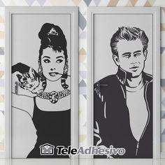 Señal de baño de Audrey Hepburn y James Dean #wc #decoracion #vinilo #puerta…
