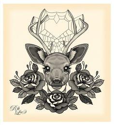 Deer tattoo design by Rik Lee-- dig it.