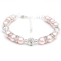 Bridesmaid Jewelry, Blush Pink Pearl Rhinestone Bracelet, Bridesmaid Gifts, Summer Wedding Jewelry by AMIdesigns on Etsy
