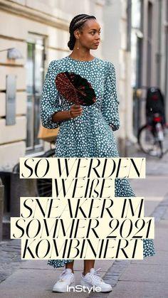 Mode Trend: So vielfältig kannst du weiße Sneaker im Sommer 2021 kombinieren! Wir zeigen dir fünf verschiedenen Styling Ideen... #instyle #instylegermany #mode #modetrend #sneaker #sneakertrend #sneaker2021 #schuhe #schuhtrend #weißesneaker Sneaker Trend, Short Sleeve Dresses, Dresses With Sleeves, Outfit, Sneakers, Fashion, Romantic Dresses, Colorful Socks, New Fashion Trends
