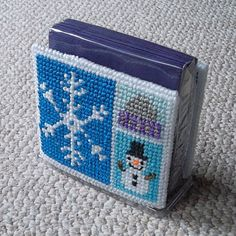 "Plastic Canvas: Seasonal Napkin Holder Covers -- ""Winter Snowflake"" (""Ready, Set, Sew!"" by Evie)"