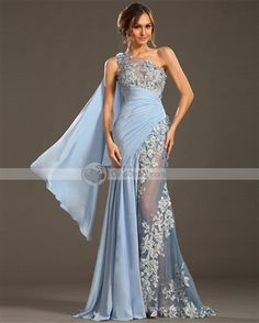 Elegant One Shoulder Light Blue Chiffon Long Prom Dress With Appliqued Formal Evening Party Gowns ,Custom Made Women Dress Elegant Prom Dresses, Chiffon Evening Dresses, Tulle Prom Dress, Cheap Prom Dresses, Formal Evening Dresses, Formal Gowns, Homecoming Dresses, Evening Gowns, Formal Prom