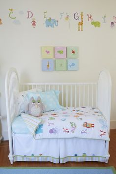 Lots of hand appliques and details in this adorable alphabet quilt      Babies will have fun studying all the animals and their designs. Heirloom quality work      Be sure to see the matching wall art and complementary pieces for special look      36 x 50