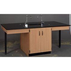 Stevens ID Systems Science Workstation Color: Black, Surface Type: Epoxy, Frame Finish: Natural Oak