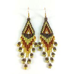 Bronze earrings Brown earrings Gold white earrings Small earrings fringe earrings Cool earrings Fasion gift idea Best beading Seed bead