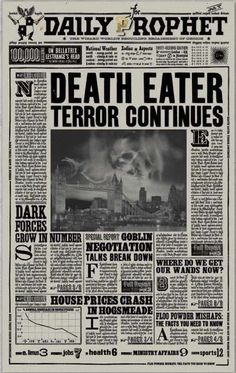 Daily Prophet - Death Eater Terror Continues (Harry Potter and the Half-Blood Prince)
