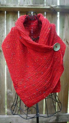 Red Sleeveless Knitted Solid Scarves & Shawls – linenlooks style scarfs,scarves shawls wraps,scarves and shawls Knitted Shawls, Crochet Shawl, Knit Crochet, Knitting Projects, Knitting Patterns, Crochet Patterns, Red Accessories, Accessories Online, Knit Wrap