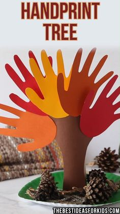 Handprint Tree Kids Crafts diy thanksgiving crafts for kids Halloween Crafts, Holiday Crafts, Halloween Party, Crafts To Make, Easy Crafts, St Patrick's Day Crafts, Creative Crafts, Hand Print Tree, Thanksgiving Crafts For Kids