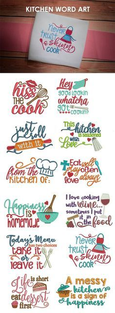 Our Kitchen Word Art design set includes 12 super cute, kitchen-themed word art designs. Design Set, Word Art Design, Embroidery Applique, Machine Embroidery Designs, Embroidery Patterns, Embroidery Fonts, Embroidery Store, Embroidery Alphabet, Vintage Embroidery