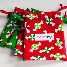 Fabric Christmas gift bags - reusable and eco friendly 5x7, set of 4. $12.00, via Etsy.