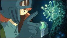 "Nausicaä collecting spores in the Toxic Jungle - ""Nausicaä of the Valley of the Wind"" (1984)"