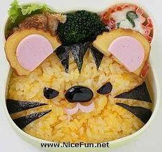 Tiger using yellow rice