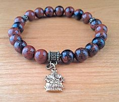Ganesh Bracelet Mahogany Obsidian Bracelet by LarisJewelryDesigns