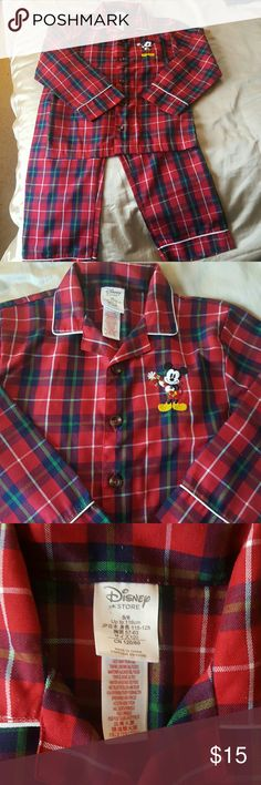 Unisex Mickey Mouse long sleeved pajamas Super cute holiday time plaid pj's. Plaid. Straight leg bottoms and buttondown top. Some minor piling (see pics). Worn a hadful of times. Disney Pajamas Pajama Sets