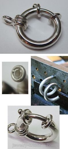 How to make a standard round spring ring clasp or bolt ring as they are also known as. They are made from bent hollow tubing and the mechanism is fitted with a stainless steel spring wire. These clasps are suitable for heavy thick chains. how to make a clasp, make a chain catch, bending hollow metal tube, make a bolt ring catch, free jewelry making video, jewelry tutorial,  metalsmith, workbench, how to make a hollow ring, silver, jewellery making, wire draw bench