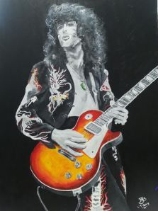 Jimmy Page on canvas  Work done by Bruce J Schmalfuss