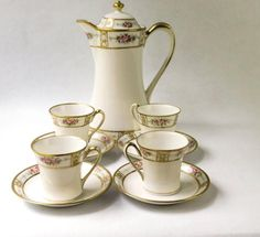 Morimura Nippon China Antique Hot Chocolate Set- Art Nouveau- Made In Japan