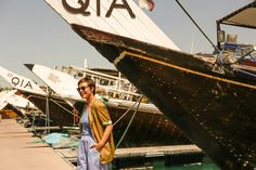 Vintage jacket and sunglasses Doha Fashion Blogger Travel blogger Jucca trousers