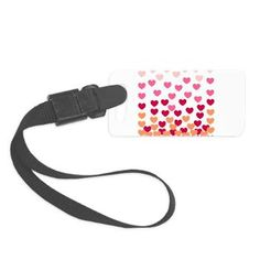 Heart Drops-pink Small Luggage Tag - FUN Valentine's day gifts - visit our shop www.cafepress.com/drapestudio to see more fun products with this design filled with hearts for your Valentine http://www.cafepress.com/drapestudio/12196142