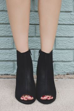 Black Perforated Peep Toe Wooden Heel Booties Anajay – UOIOnline.com: Women's Clothing Boutique