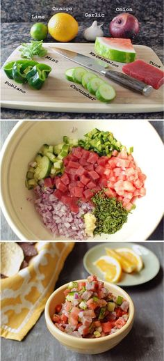 Watermelon Tuna Ceviche Ingredients 1/4 pound sushi-grade tuna 1/2 small red onion, diced 1 cup diced watermelon 1 clove garlic, grated 1/4 English cucumber, diced 1/2 poblano pepper, diced 15 mint…