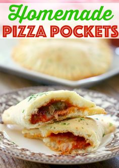Homemade Pizza Pockets are made from a simple homemade pizza dough recipe filled with sauce, pepperoni, sausage and cheese. So good!
