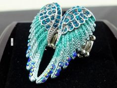 Free Shipping Retail/wholesale 2013 Exclusive Design 2colors punk Austrian Rhinestone Fashion Angel Wing Ring Excellent Quality US $2.75