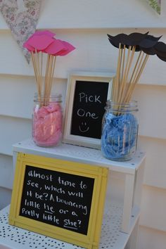 love this for a gender reveal party and take a picture of everyone and their picks!