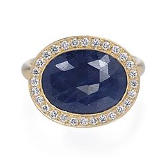 Anne Sportun Rose-Cut Sapphire and Diamond Ring