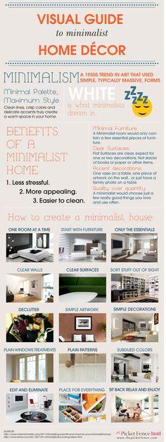 Visual Guide to Minimal Home Decor from The Picket Fence  http://www.thepicketfence.com/infographics/visual-guide-minimalist-home-decor#