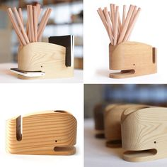 Wood Whale Stationery Holder #wooden