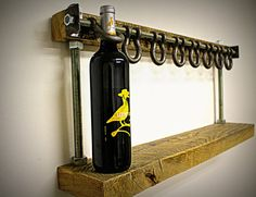 Reclaimed Wood Wine Rack The Bella by ChampionLimited on Etsy Pipe Furniture, Industrial Furniture, Industrial Pipe, Vintage Industrial, Wood Wine Racks, Unique Wine Racks, Diy Holz, Wood And Metal, Home Projects