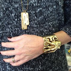 One of our most loyal customer stopped by wearing her octopus cuff along with small & large song tags. #howtostylemelvin #melvinjewelry #melvin #madeinnyc #americanmade #jewelry #accessories #fashion #instafashion #instagood #instaacessories #instastyle #style #styling #instagramfashion #madeinusa #songtags #octopus #octopuscuff #cufs #necklaces #dogtags #music #songtitles #intothemystic #cometogether #jade #cabachons - @melvinjewelry- #webstagram
