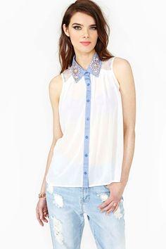 Embellished collar top