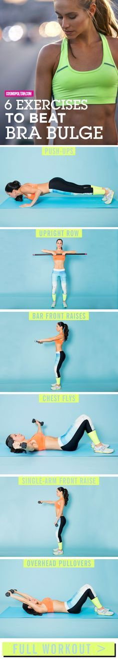 BRA BULGE EXERCISES: These exercises designed and demonstrated by certified fitness trainer, health coach, and fitness model Elizabeth Bracero, will tighten up your chest and shoulders. Work up to four sets of 12 reps of each exercise a few times a week. Do these moves at home or at the gym, and what would make the workout even better — grab the bestie and do them together!