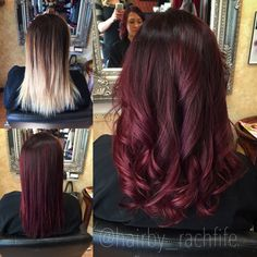 Amazing before and after from blonde to red! Custom color melt created using redken chromatics and shades eq cream. Love vibrant red violet tones! Hair by Rachel fife at Sara Fraraccio salon.