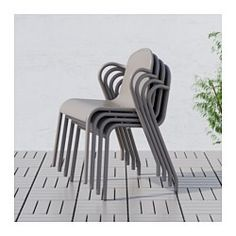 IKEA - TUNHOLMEN, Chair, outdoor, gray, , The chair is sturdy, lightweight, and maintenance-free since it is made of rust-proof aluminum.No assembly or screws to re-tighten, since the chair is molded in one piece.You can have several chairs on hand without taking up more space since they are stackable.The drain hole in the seat lets water drain out.