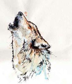 watercolour wolf sleeve tattoo