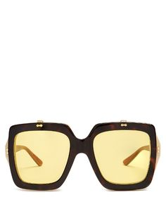5cee0c917af37 Gucci Oversized square-frame acetate sunglasses Flip Up Sunglasses