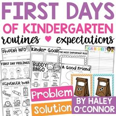Beginning of the Year Activities and Lessons For Pre-K and Kindergarten Kindergarten Routines, Kindergarten First Week, Kindergarten Classroom, Kindergarten Centers, Kindergarten Graduation, 1st Day Of School, Beginning Of The School Year, Summer School, Get To Know You Activities