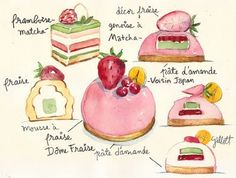 I need to brush up on drawing skills and watercolors strictly to illustrate new dessert ideas like this. beautiful!