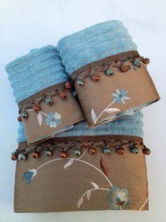 Aqua Blue & Bronze Floral and Tassle Bath Towel by LadyDiBlankets, $63.99