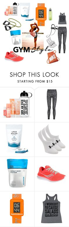 """""""No pain no gain"""" by atolrac ❤ liked on Polyvore featuring NIKE, Ursa Major, Under Armour, Saucony and Superdry"""