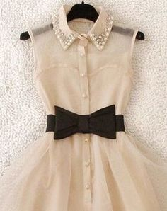 pinner said-Vintage chiffon dress with black bow belt