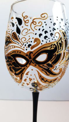 Hand Painted Mardi Gras 19oz Wine Glass - Gold/Black. Via Etsy