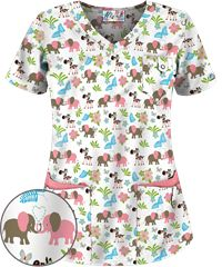 UA Jungle Love White Print Scrub Top Isn't cute @Kim B??? Would you be able to wear that to work?
